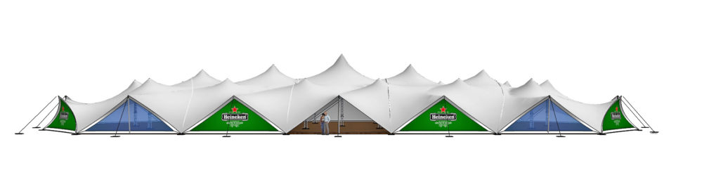 Largest stretch tent in the world, ideal as a party or event tent, manufactured by Freeform® stretch tents.