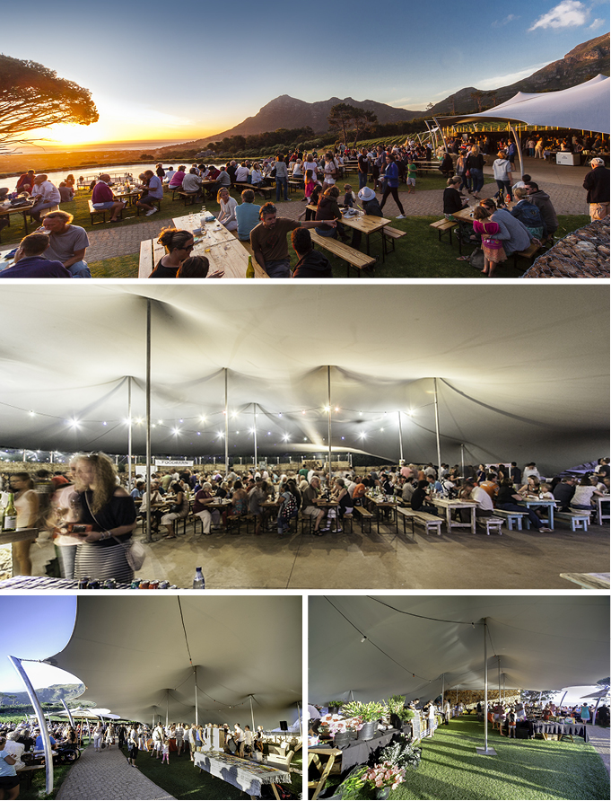 A custom-made Freeform<sup>®</sup> tent creates a massive market space at Cape Point Vineyards, Noordhoek